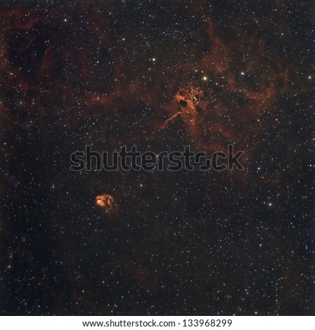"""A Tri Color image of """"The Spider and the Fly"""" in Auriga taken with narrowband filters."""
