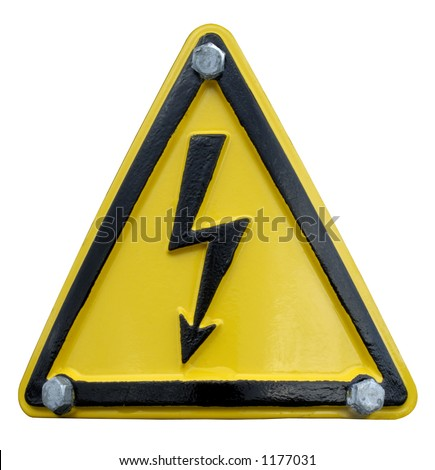 A triangular sign - a lightning symbol on a yellow background - held in place by three silver bolts at the corners.