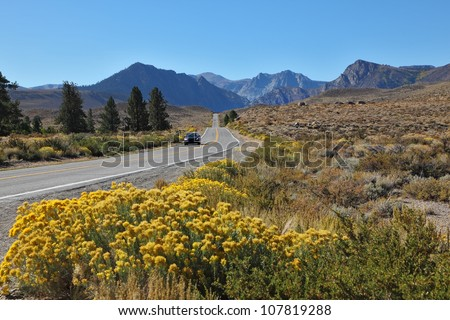 A trip through the colorful autumn desert to the distant mountains - stock photo