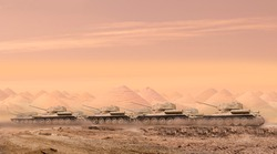 A troop of tanks rushing through desert sand with the first row of tanks in focus and copy space in the sky