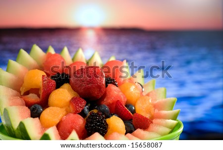 A tropical fruit salad at ocean beach.