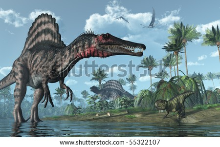 A tropical prehistoric scene with several dinosaurs, including two spinosauruses, a psittacosaurus and two dorygnathuses in flight. 3D render