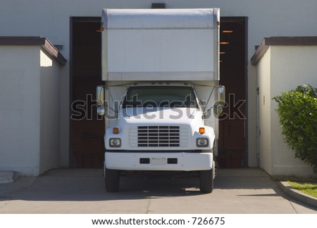 A truck in the loading load.