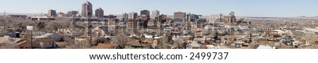 A true wide panorama of downtown Albuquerque, New Mexico