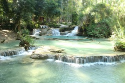A truly stunning waterfall in Laos