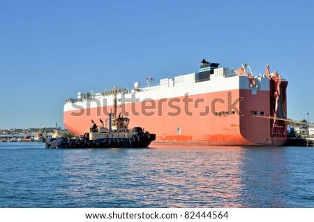 A Tug Boat Approaching a Huge Cargo Ship