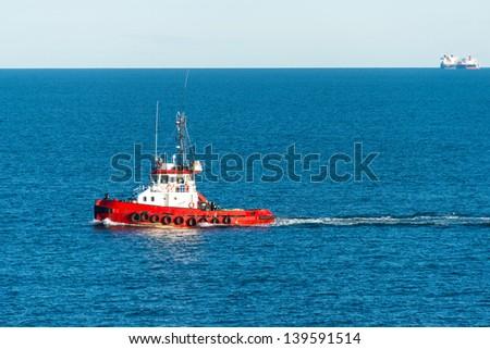 A tug boat at Skagerrak sea