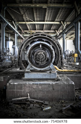 A turbine at an abandoned power station.