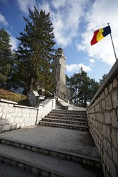 a turist attraction, the Mateias Mausoleum in Romania, near Campulung, WW2 soldiers monument on a hill in a sunny summers da