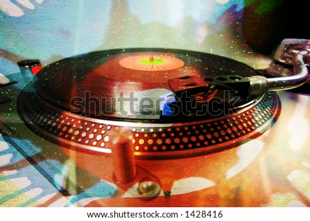 a turntable with an abstract glittery pattern overlayed