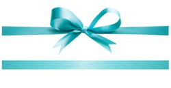 A Turquoise ribbon and bow Christmas, birthday and valentines day present decoration set isolated against a white background