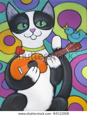 A tuxedo cat is playing the ukulele - a little blue bird is sitting on the ukulele and singing along
