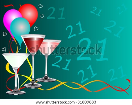 stock photo : A twenty first birthday party background template with drinks
