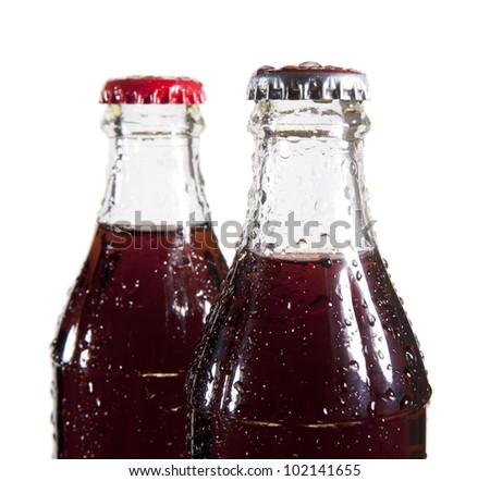 a two  bottles of cola soda isolated on a white background