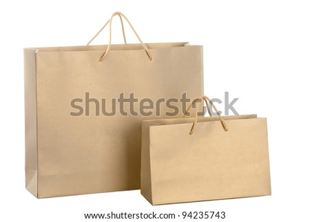 A two gold paper shopping bags