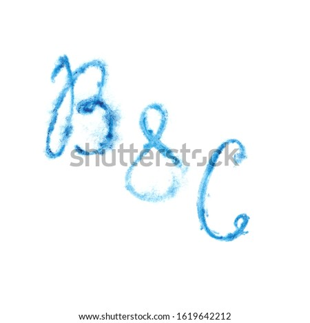 "A two-letter monogram with an ampersand. Watercolor blue lettering ""B&C"". Hand-drawn raster illustration with the first letters of the names of the newlyweds or founders"