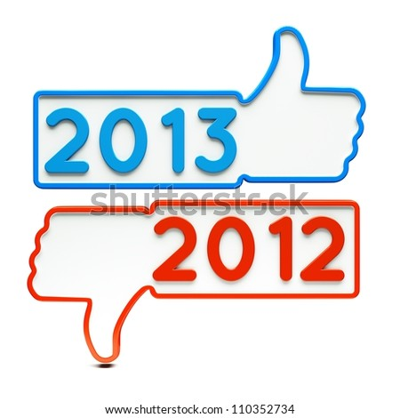 a two Like signs with 2013 and 2012 on white - stock photo