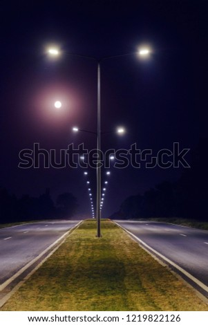 a two-way road is illuminated by the light post, arranged on the separation strip #1219822126