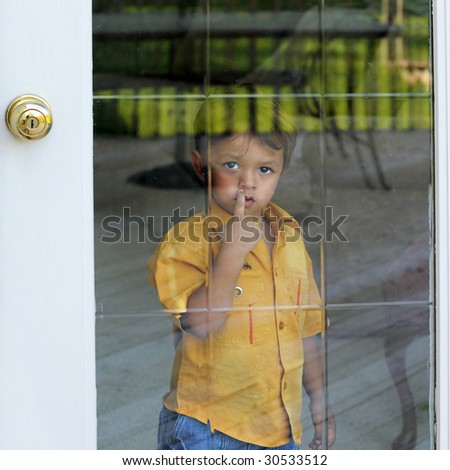 A two year old longingly looking out through a glass door.  Reflections of a deck and sunny yard in the glass.