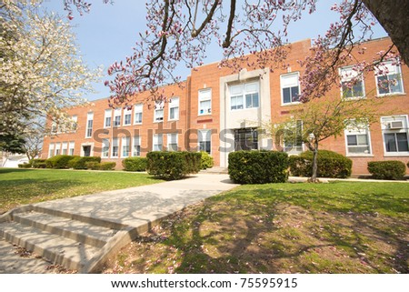 A typical American Elementary school in spring