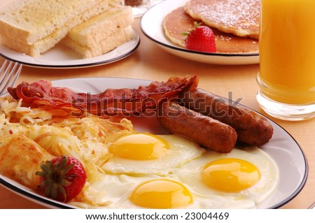 A typical American hearty breakfast