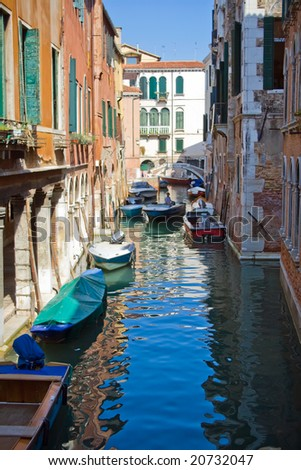 A typical canal in Venice and a bridge #20732047