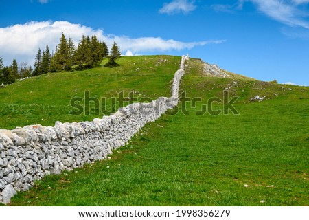 a typical Dry stone wall near Mont Tendre in the Jura Vaudoise Photo stock ©