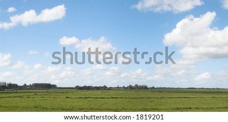 A typical Dutch landscape panorama.
