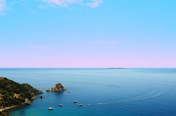 A Typical Italian Seascape With Hills And Indented Coastline
