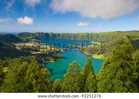 A typical lake on the island of Azores in Portugal