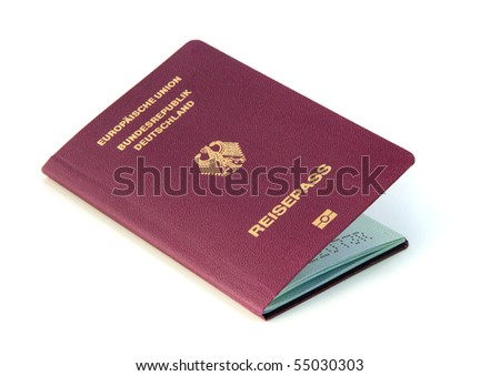 A typical modern german passport inclusive biometric data. All isolated on white background.