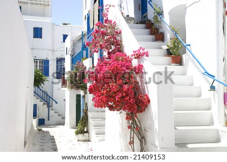 A typical narrow alley in the town of Mykonos, Greece