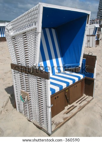 """A typical north-european beach (island of Sylt) with the famous and traditional """"Strandkörbe"""" (beach-chairs)"""