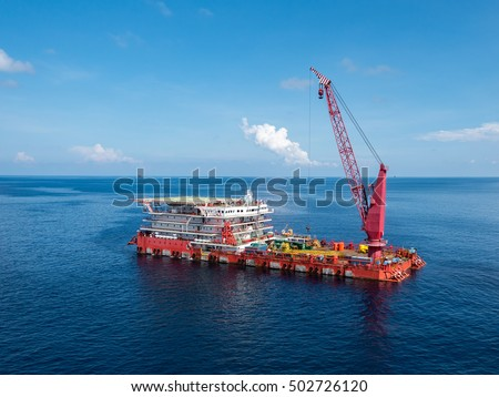 A typical Offshore Accommodation and Work Barge in the Oil and Gas industry