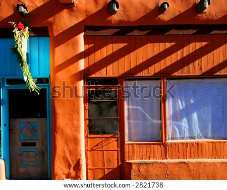 A typical scene in Santa Fe with a small shop and the colors and feel of New Mexico