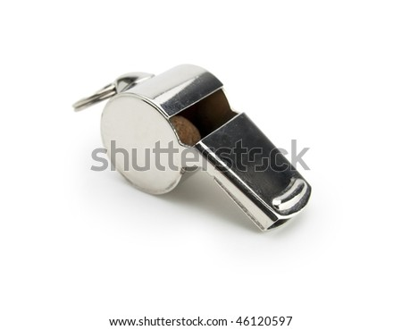 A typical silver whistle isolated on white with natural shadow.