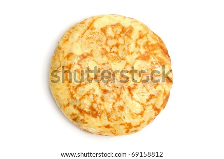 a typical spanish tortilla de patatas on a white background