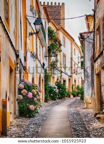 A typical street in Alentejo's villages. Castelo de Vide, Portugal.