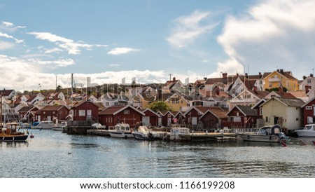 A typical view of Grundsund, a small fishing village at the Swedish west coast archipelago #1166199208