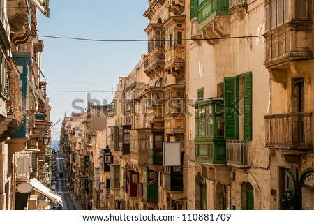A typical view of La Valletta with its old balconies