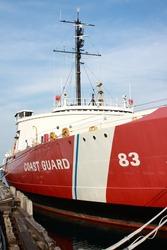 A U.S. Coast Guard ship at port in upper Michigan