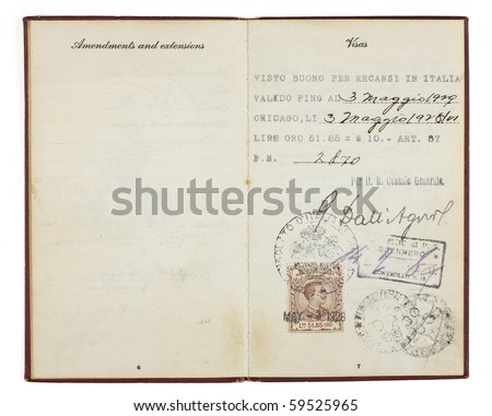 A U.S. Passport from the 1920s open to two facing pages with customs stamps from 1928 Italy. Isolated on white with clipping path.