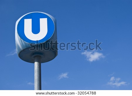 "A ""U"" sign of the Viennese metro (U-bahn)"