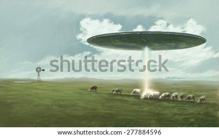 A ufo above a pasture is abducting a sheep