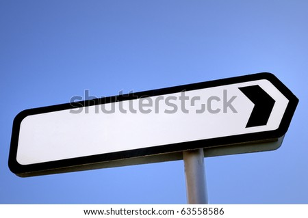 A UK road direction sign, blanked for your own message.