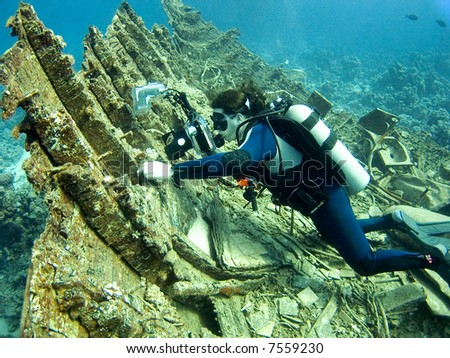 A underwater photographer taking pictures of small fish on a wreck in the Red Sea , Egypt