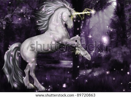A unicorn surrounded by magic dancing at night in the moonlight. glitter and sparkle brushes available at obsidiandawn.com