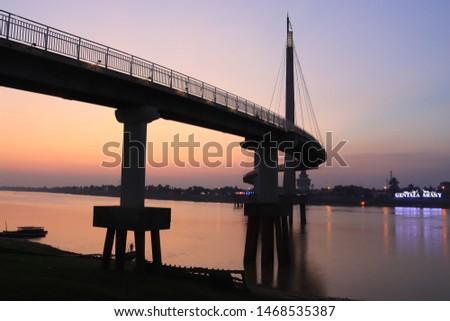 a unique bridge at dusk #1468535387