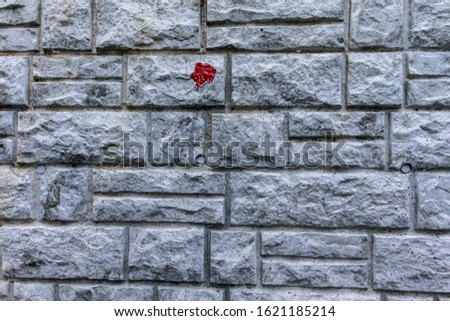 A unique red paint splotch on a perfect stone tiled wall in Cher-Mignon d'en Haut, Switzerland