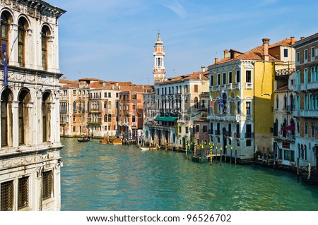 a unique view of the city of venice in italy.